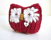 Red Valentine Hoot Owl- Plush Knitted  Love Owl