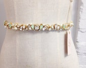 Skinny Crystal and Mint Opal Bridal Belt- Narrow Bridal Belt- Swarovski Crystal Bridal Sash- Gold Bridal Sash