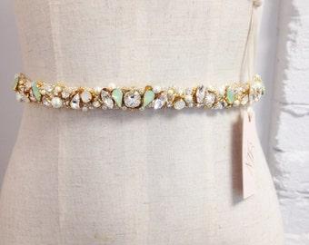 Skinny Crystal and Mint Opal Bridal Belt- Narrow Bridal Belt- Swarovski Crystal Bridal Sash- Gold Bridal Sash