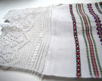 """Ukrainian Rushnyk Towel Table Runner 4 Folk Handwoven Embroidery and Crochet White Linen  88"""" by 12"""" from Ukraine USSR"""