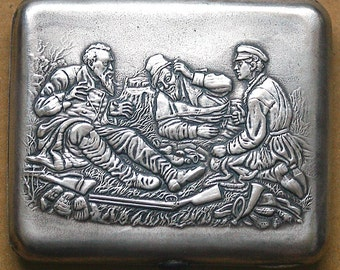 Cigarette Case Silver Plated 3 Hunters Hunter Hunt Hunting 1940s 1950s from Russia / Soviet Union