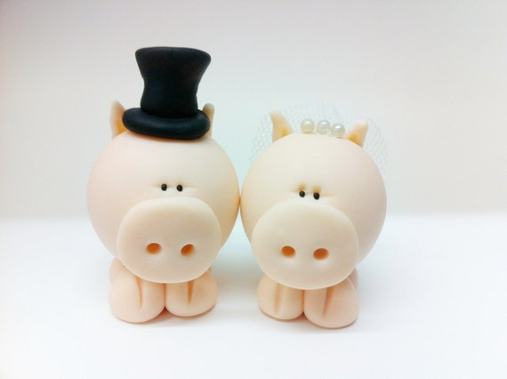 Polymer Clay Pig Wedding Cake Topper