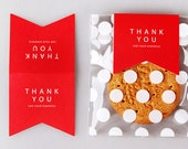 10 Thank You Deco Folding Tags - Red (2.4 x 4.5in)