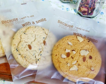 20 Smile Cookie Semitransparent Bags - L size (4.7 x 6.3in)