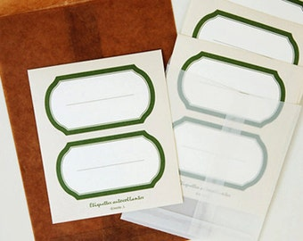 8 Etiquette Label Stickers - Olive (2.7 x 1.4in)