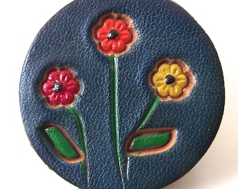 Leather Flower Pin, Vintage Round Brooch in Blue with Red, Orange and Yellow Flowers (H5)