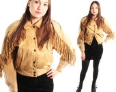 RENEGADE 80s Rad Gorgeous Earthy Beige Genuine Leather Bohemian Fringe Snap Up Sassy Western Cowgirl Brat Pack Jacket Coat Suede Small