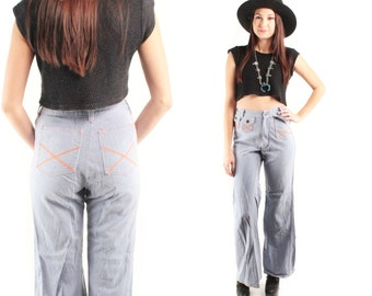 CRISS CROSS 70s Rad Retro Preppy High Waisted Waist Denim Orange Stitch Criss Cross X Hippie Joan Baez Wide Leg Boot Cut Small XS S