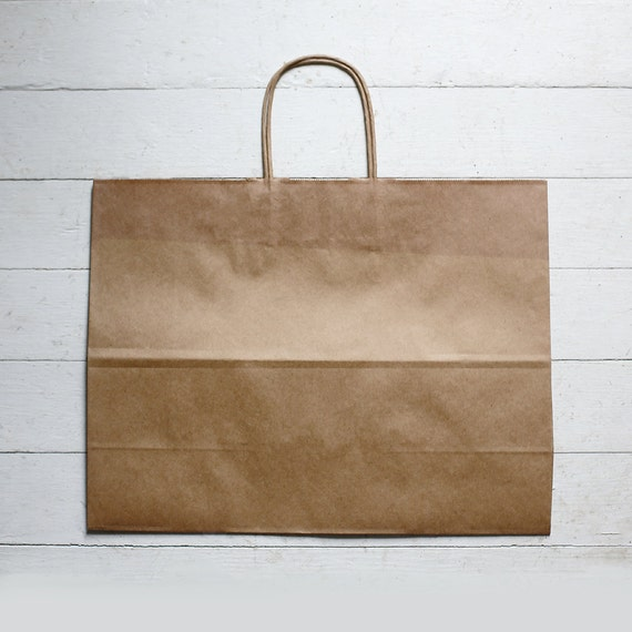 10- LARGE Recycled Kraft Handle Bags  16 x 6 x 12-1/2  inches