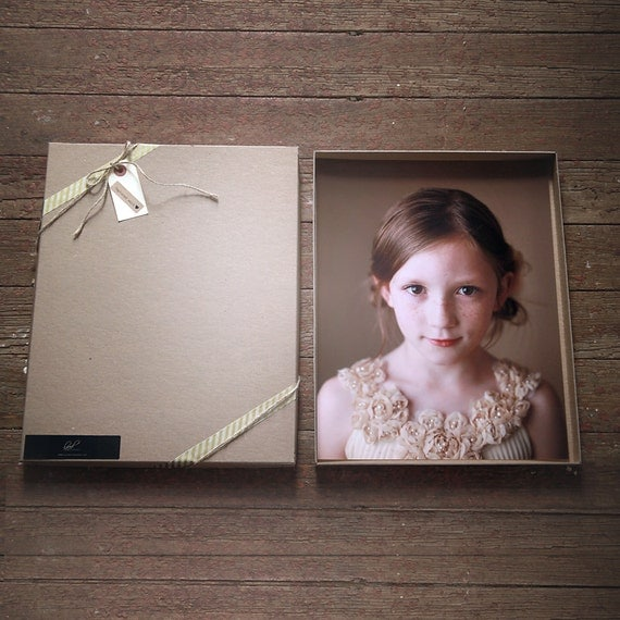 Recycled Kraft Photography Boxes for 4x6 prints-  {4 1/4 x 6 1/4 x 7/8} -- Set of 10  || Rustic Wedding Boxes,  Stationary & Card Boxes