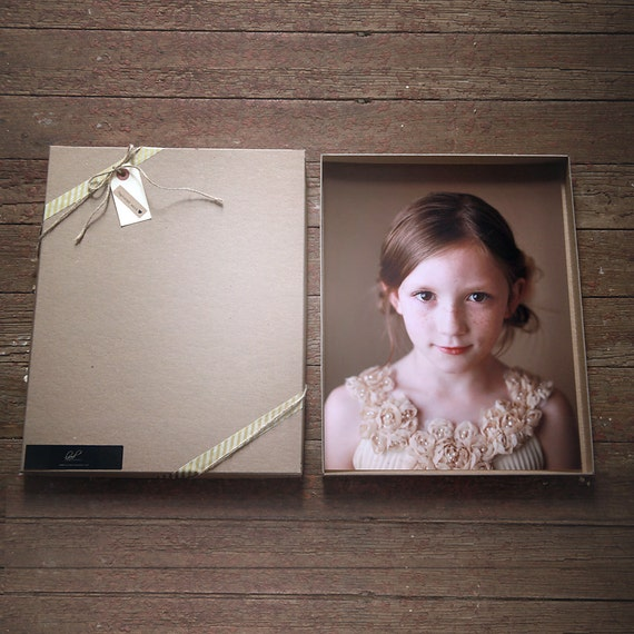 Recycled Kraft Photography Boxes for 11x14 prints- -- Set of 5