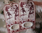 Victorian Christmas gift tags Noel tag ornaments Red and white snowy scene people skating Christmas tags embellished ornaments