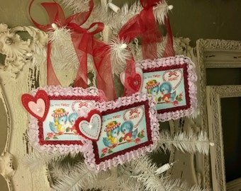 Valentine's Day ornaments tags glittered pink and red vintage retro blue birds valentines card scrap lace decor blue bird ornaments