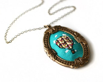 My Beautiful Balloon- hand embroidered necklace, hot air balloon, clouds, chevrons