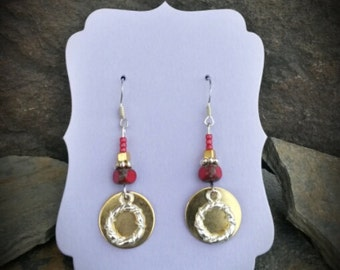 Gold Red Silver Ring Sterling Silver Earrings, Gold Disk Red Silver Earrings, Sterling SIlver Ring Earrings