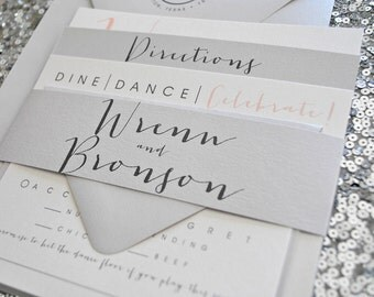Square Bronson Wedding Invitation Suite with Belly Band - Charcoal, Blush Pink, Light Grey, Off-white (colors/text customizable)