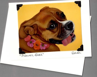Boxer Card - Boxer Dog Art - Flower Girl Dog Card - 10% Benefits Animal Rescue