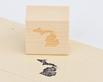 Michigan Stamp : Wood Mounted Rubber Stamp