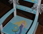 Children's , Custom Hand Painted , Mermaid , Blond , Girls Rocking Chair- Baby Shower Gift-Nursery Furniture-Painted Child Chair-Baby Gift