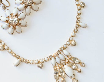 Milk Glass Necklace and Earring Set White Rhinestone Necklace Milk Glass Demi Parure Vintage