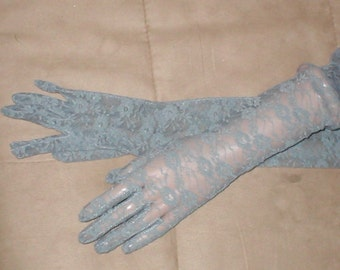 Opera-length Long Gray Lace Gloves