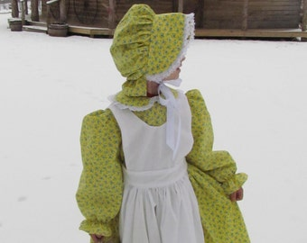 Willimasburg Historical Clothing Boutique Handmade Period Girl Costume-Yellow Flowered Pioneer-  ADULT Size