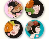 Japanese Mixed Media Kimono Collage Art Circle Small Tiny Coasters Gift Set Special Pink Blue Girls Faces Female Flowers