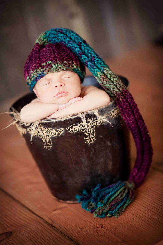 Knit Baby Hat with Tassel, Multi-Colored Teal, Wine, Rustic Green READY TO SHIP