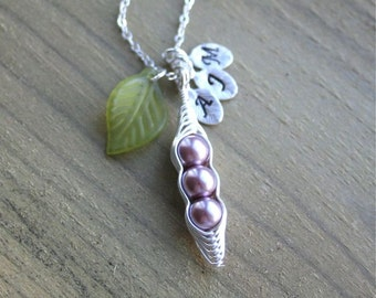 Pea Pod Necklace, Pea pod Initials, Purple Peas, Peapod Necklace, 3 peas, Personalized Jewelry,Bridesmaid Gift, Mother Gift, Sterling Silver