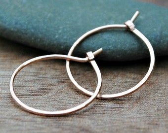Small Gold Hoop Earrings 14K