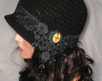 Crochet Women 1920's Black Venise Lace Pixie Fairy Cameo Cloche Flapper Hat