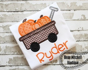 Pumpkin Wagon applique embroidery design