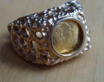 14k Gold Ring, Mexican Emperor Maximilian Gold Ring, Gold Coin Ring, 14k Ring, Vintage Coin Ring
