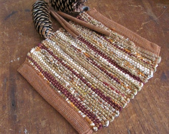 Modern Rustic Farmhouse Decor Woven Pot Holder, French Country Cottage Kitchen Hot Mat Burgundy Red Brown Cotton, Mom Gourmet Chef Cook Gift