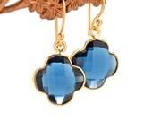 Mini Earrings , Gemstone Drop Earrings , Iolite Earrings , Onyx Earrings , Quatrefoil Earrings , Amy FIne Design