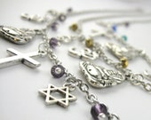 Coexist Necklace - Religious Unity Jewelry - Long World Peace Necklace - Boho Hippie Jewelry Crystal Charm