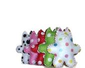 Stuffed animal cat felt playset toy polka dot gift for kids nursery baby room decor