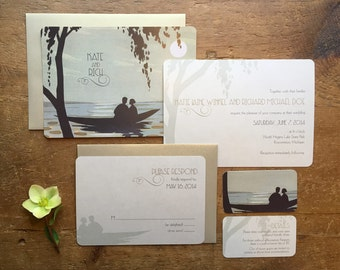 Destination Wedding, Lake Wedding Invitations, Ocean Wedding Invitation, Dog Wedding, Cat Wedding, Canoe, Include Your Cat or Dog in Boat