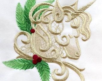 Christmas Yule Unicorn Embroidered Cotton Kitchen Towel