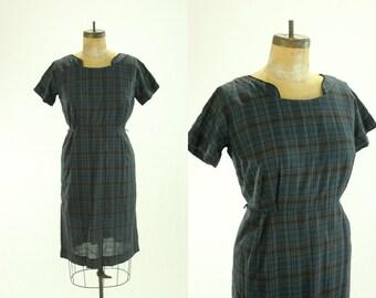 1950's Plaid Wiggle Dress XL Cotton