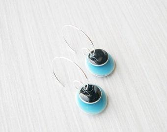 Simple Earrings - Enamel Jewelry, Sky Blue, Black, Silver Hoops, Modern, Contemporary, Drops