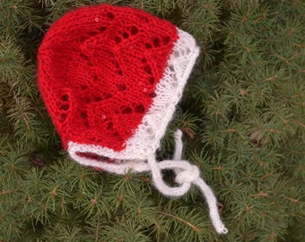 Hand knit baby Christmas hat lace bonnet  0-3m girl hat  red sequin off white  infant Newborn Holiday gift   Ready to ship Made in Colorado
