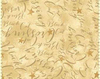 Black Cat Crossing from Maywood Studio - Words and Stars on Gold Halloween Fabric