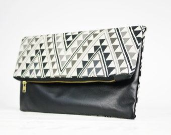 Diamond Print clutch | Black leather clutch | Black leather fold over clutch | diamond clutch | tribal clutch