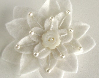 White on White Felt Flower Brooch with Vintage White Button, Pearls and Hand Embroidery