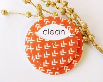 Dishwasher Magnet - Clean Dirty Sign - Pumpkin Orange Home Decor - Orange Kitchen Accessories -  Orange Thanksgiving Decor - Kitchen Sign