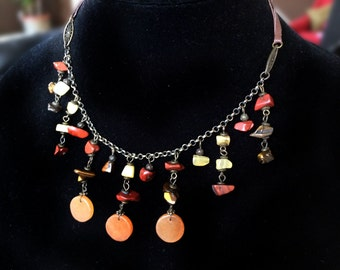 Red Agate Necklace,Stone fringe necklace,red & yellow agate stones on leather string ,tiger eye Jewelry by Taneesi