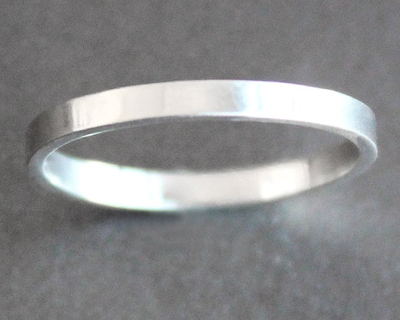 Sterling Silver Ring - 2mm Wide Band - Smooth, Matte, Hammered or Antiqued - Unisex - Alternative Wedding Band