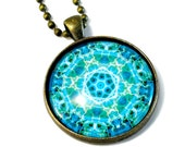 Turquoise Star Necklace, Pendant, Sacred Geometry Jewelry, Mandala Art, New Age, MEDIUM