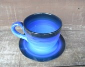 Blue Ombre Jumbo Soup Mug with Matching Saucer Plate - 30 oz. - Extra Large Mug and Dish Set - Shades of Blue